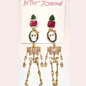 NWT Betsey Johnson Skeleton Dangle Stud Earrings
